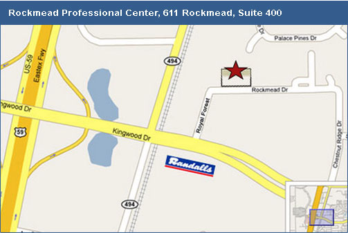 Map to 611 Rockmead, Suite 400, Kingwood, Texas.